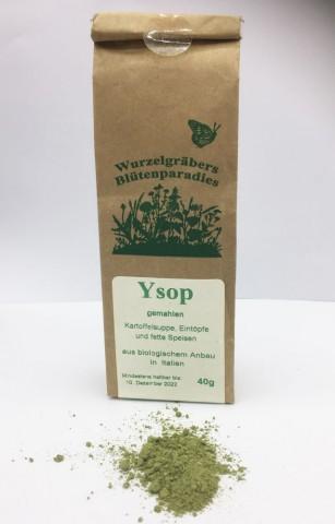 Ysop - 40g kbA bio - gemahlen - Blatt und Blüte
