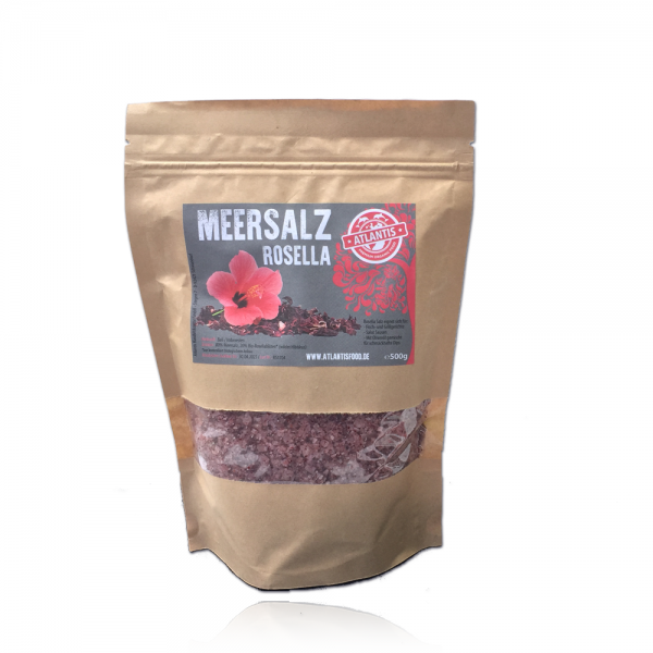 Fleur de Sel Meersalz Rosella 500g aus Bali - 20% Hibiskus - Pyramidensalz