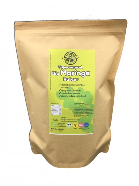 Bio Moringa Blattpulver 1000g - Rohkost
